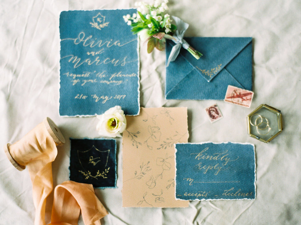 blue and peach wedding stationary suite