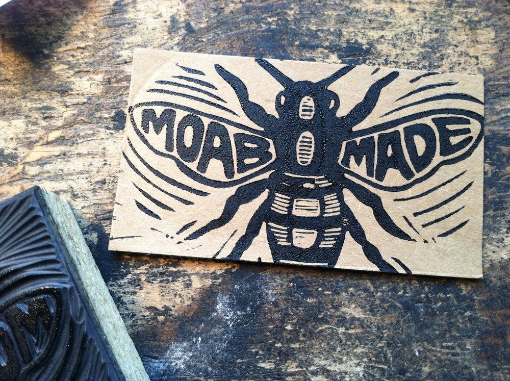 Hand-printed business card; this honeybee image is printed on the back of T-shirts (and on the occasional hat)