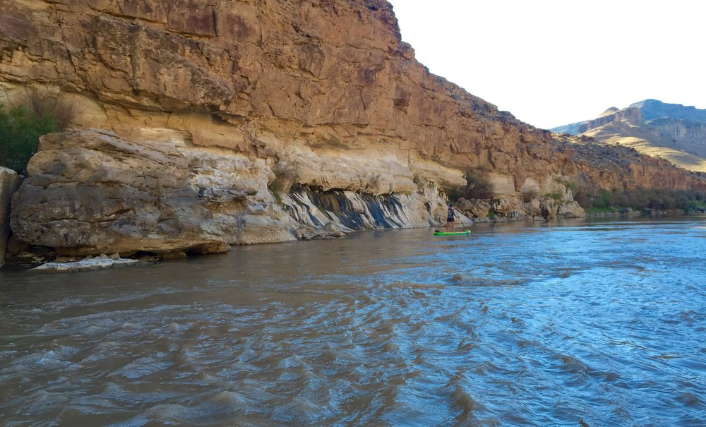My wife paddling near the seeps in Lower Gray Canyon of the Green River. This area served as source material for Seep No. 3 (Another Pioneer).