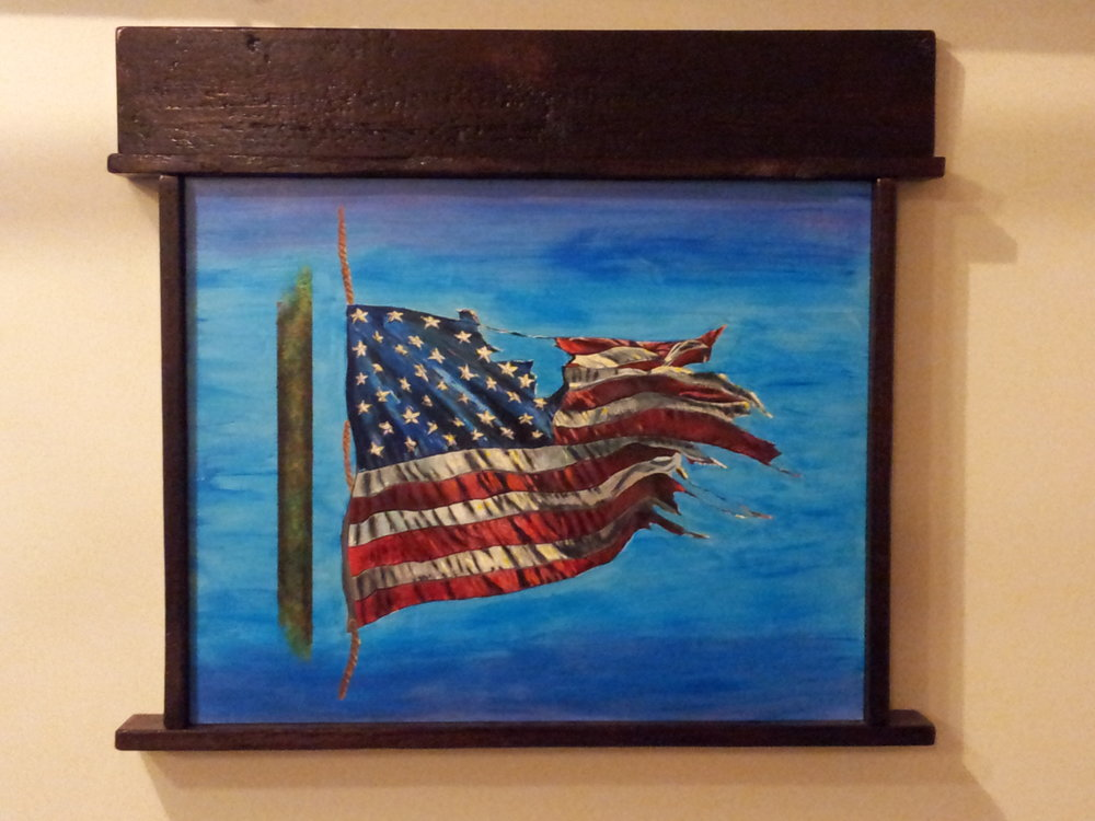 Flag - (100+ year old Barn wood, Acrylic)   Born in the early 70's the artist witnessed the aftershock of Vietnam, listen to grandpa tell about storming Normandy; he went through the Cold War, and in the early 1990's, after joining the military, he witnessed friends in Desert Storm, Desert Shield and countless other conflicts still going on.   During his early years, the leash was in the hand of people and the collar around the Government.  People were thin, smoking was in; yet cancer, allergies, autism… did not exist (small at best).  Winning did mean everything, being shamed was appropriate; pride for your country was high; and politically correct speech was yet to be born.   Now, armed with knowledge of history, witnessing the present and living days gone by, the artist attest to looming days in our Nations future. He sees the threads of our nation coming apart in view of current events.  Our traditions, meager as they may seem, are being challenged by a generation without sustenance, elderly cast away, and the rest lost in a haze of gluttony and perpetual denial.  He fears the destruction of our nation from the inside out, as quickly as it first sprung.  This painting signifies the artist interpretation of our nation's current status, torn but still flying – what does the future hold.  What does the Flag mean to you?
