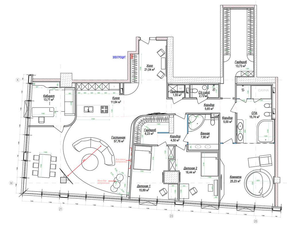 Итоговая планировка с мебелью (кликните для увеличения изображения)