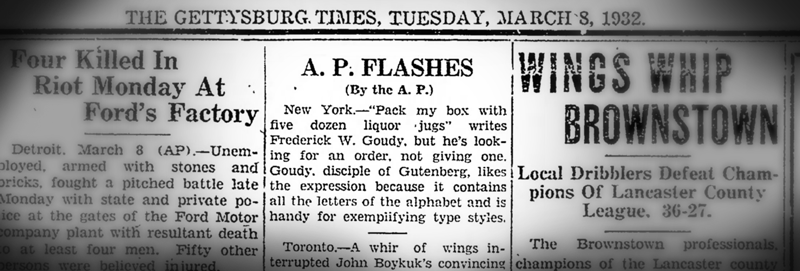 Associated Press clipping from 1932 concerning Goudy's Prohibition Pangram