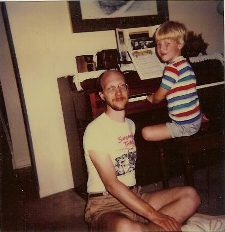Geoff and his dad, Stanley Shell at the Piano