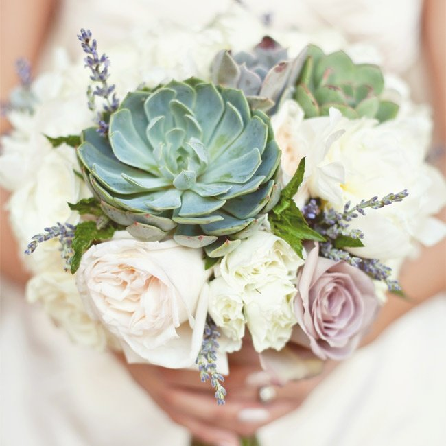 Image: The Knot: Rose and Succulent Bridal Bouquet
