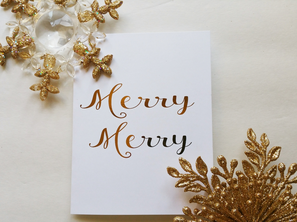 Paper Dreams LLC | Http://www.paperdreamsllc.com | New York Stationery Designer | Merry Merry Holiday Foil Card