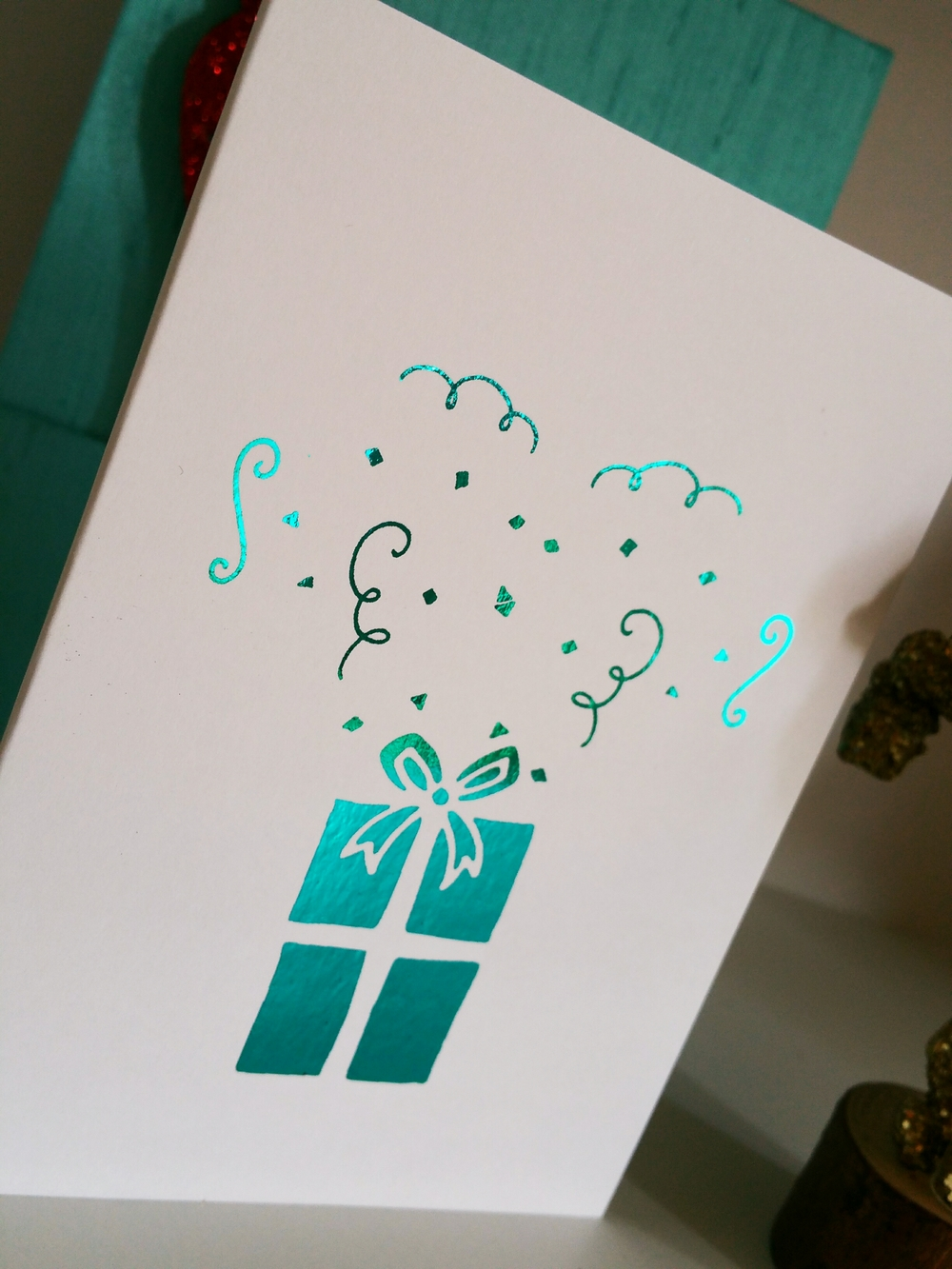 Confetti &Present Holiday Foil Card