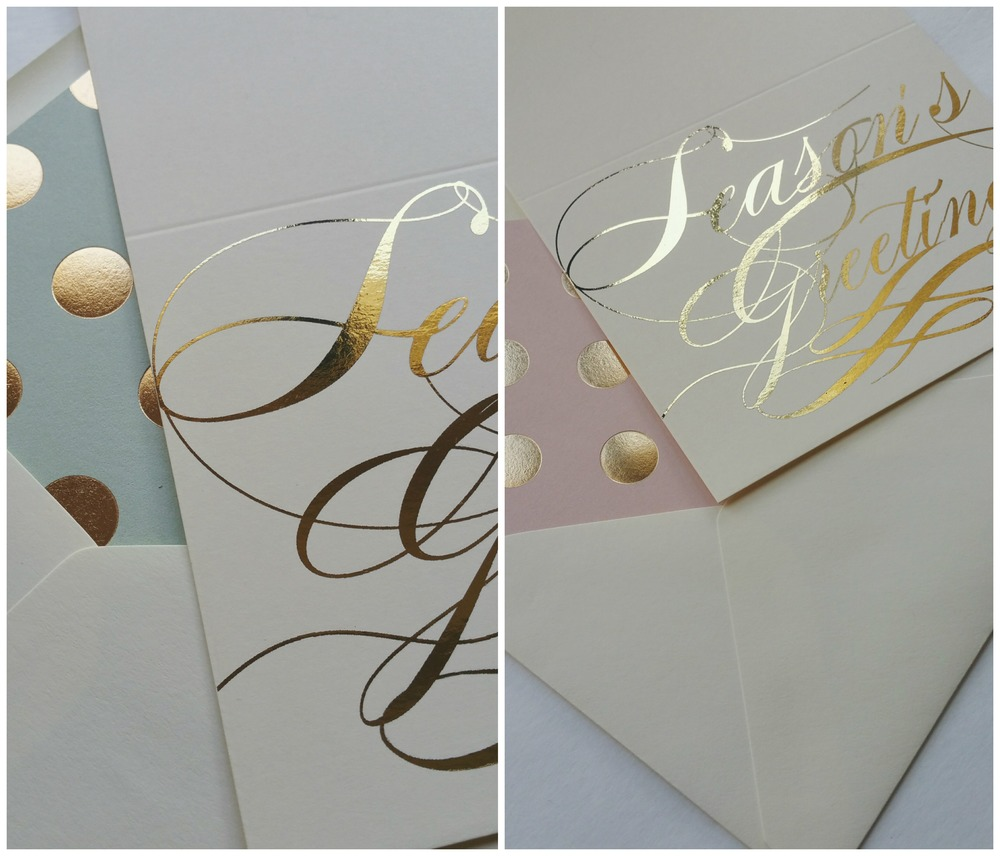 Elegant Season's Greeting Card with custom foil polka dot liners.