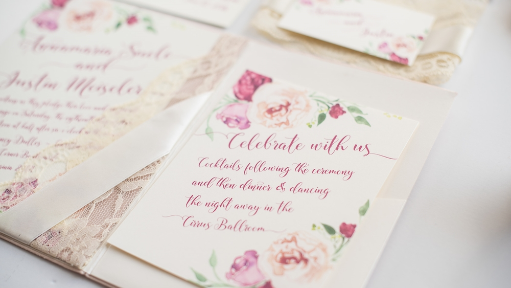 Paper Dreams + Keepsakes | Http://www.paperdreamsllc.com | New York Stationery Designer | Blush Fabric + Lace Pocketfold Invitation Suite