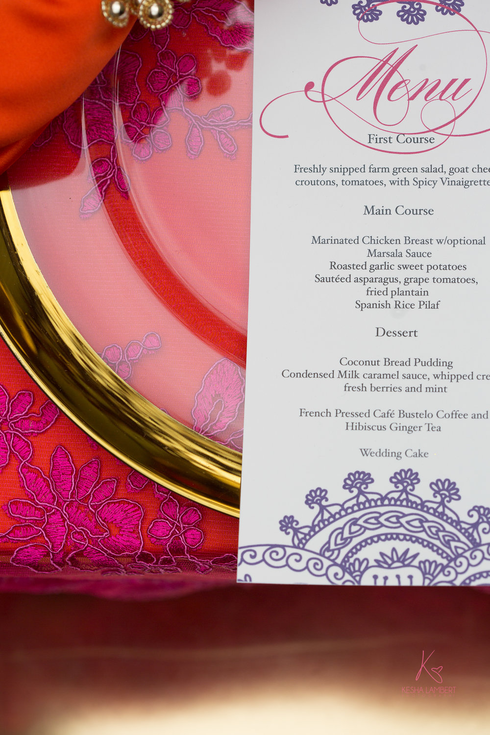 Paper Dreams + Keepsakes | Http://www.paperdreamsllc.com | New York Stationery Designer | Bollywood Meets Brooklyn Styled Shoot Menu Card