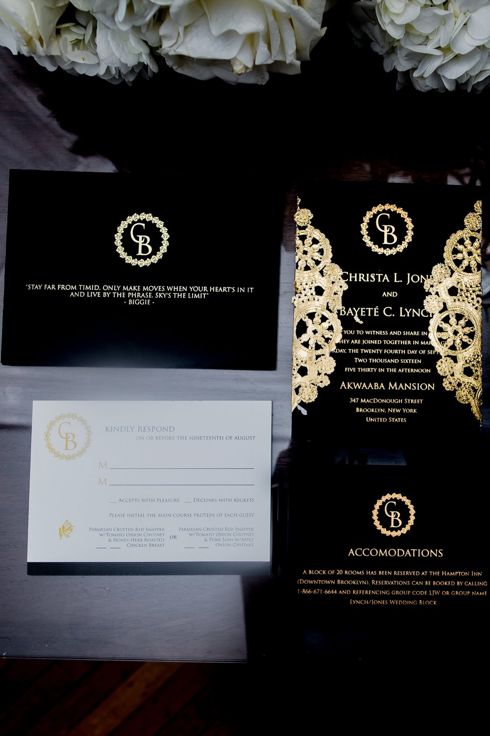 Paper Dreams + Keepsakes | Http://www.paperdreamsllc.com | New York Stationery Designer | Elegant Christa Black and Gold Foil Wedding Invitation Suite
