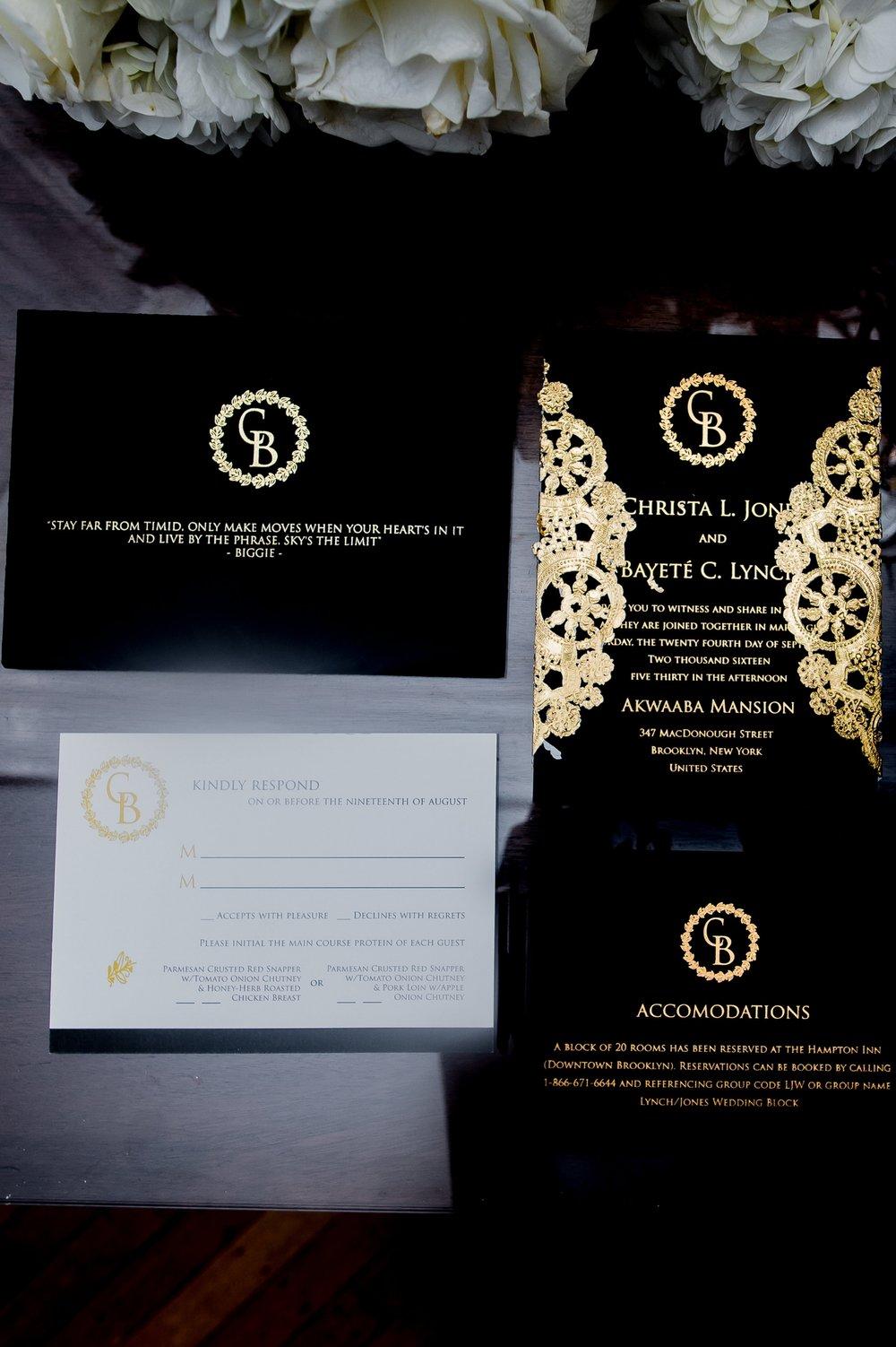Paper Dreams + Keepsakes | Http://www.paperdreamsllc.com | New York Stationery Designer | Elegant Christa Black and Gold Foil Wedding Invitation Suite