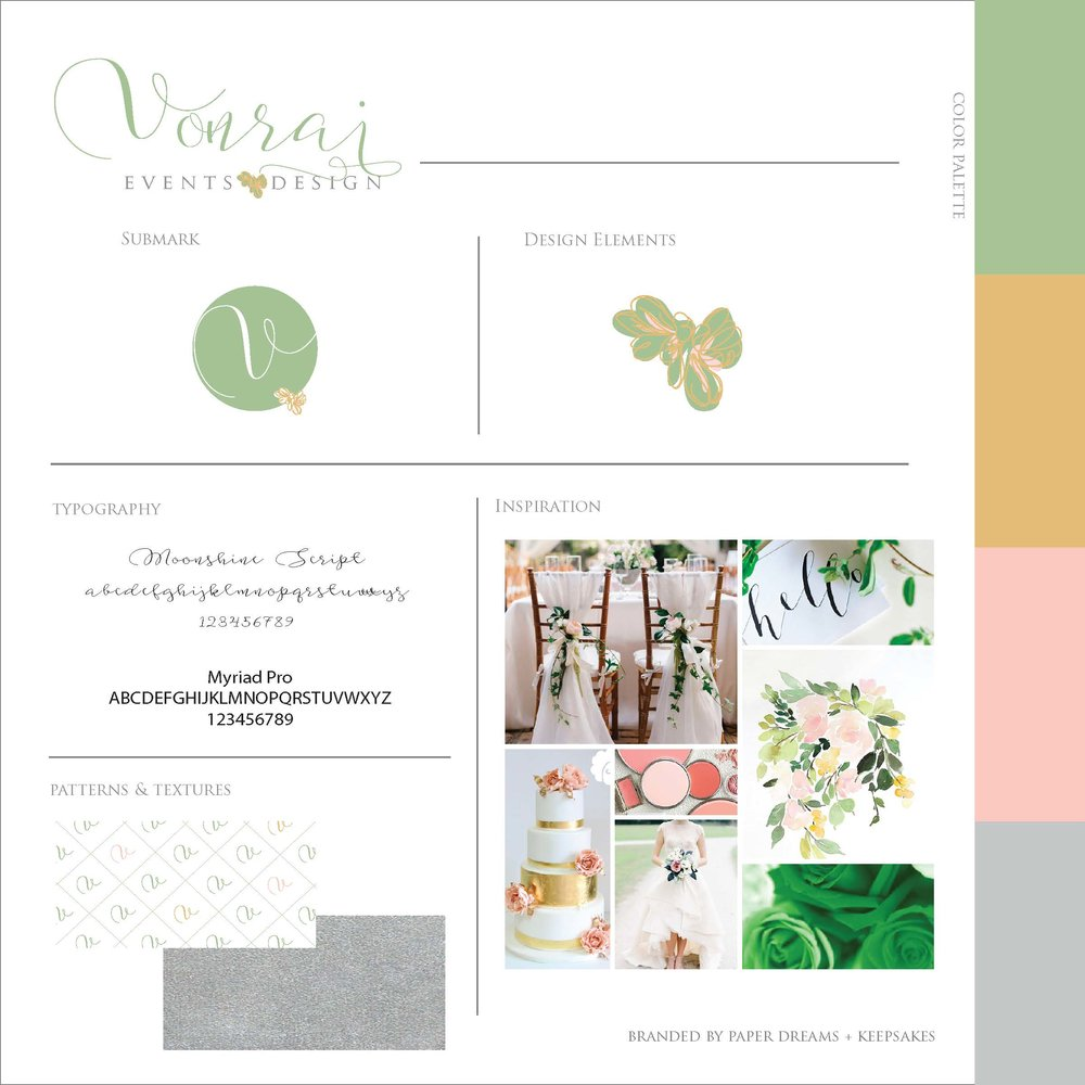 Paper Dreams + Keepsakes | Http://www.paperdreamsllc.com | New York Stationery Designer | Brand + Style Guide Design for Vonrai Events and Design