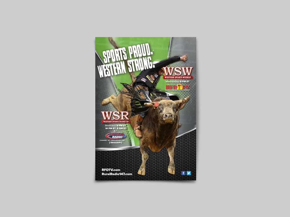 Full-page print advertisement for Western sports publishing.