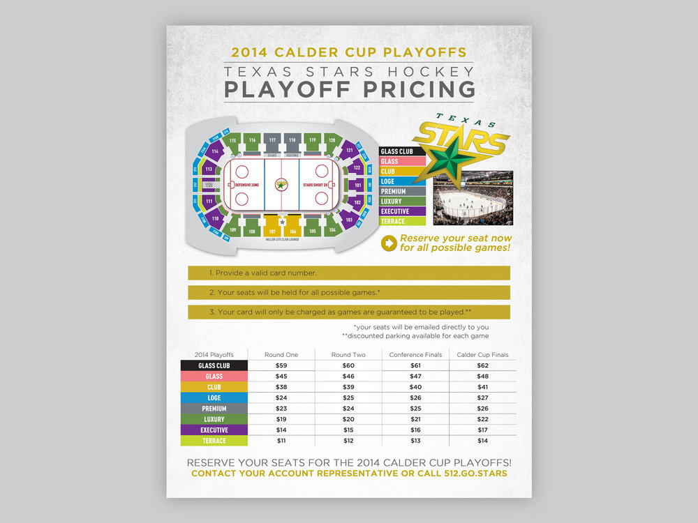 Flyer used by the sales staff to advertise pricing for playoffs.