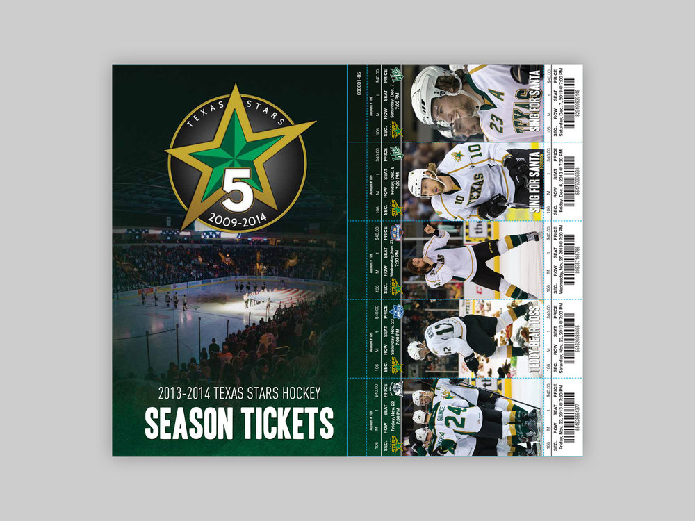 Printed ticket book, provided to Season Ticket Holders each season.