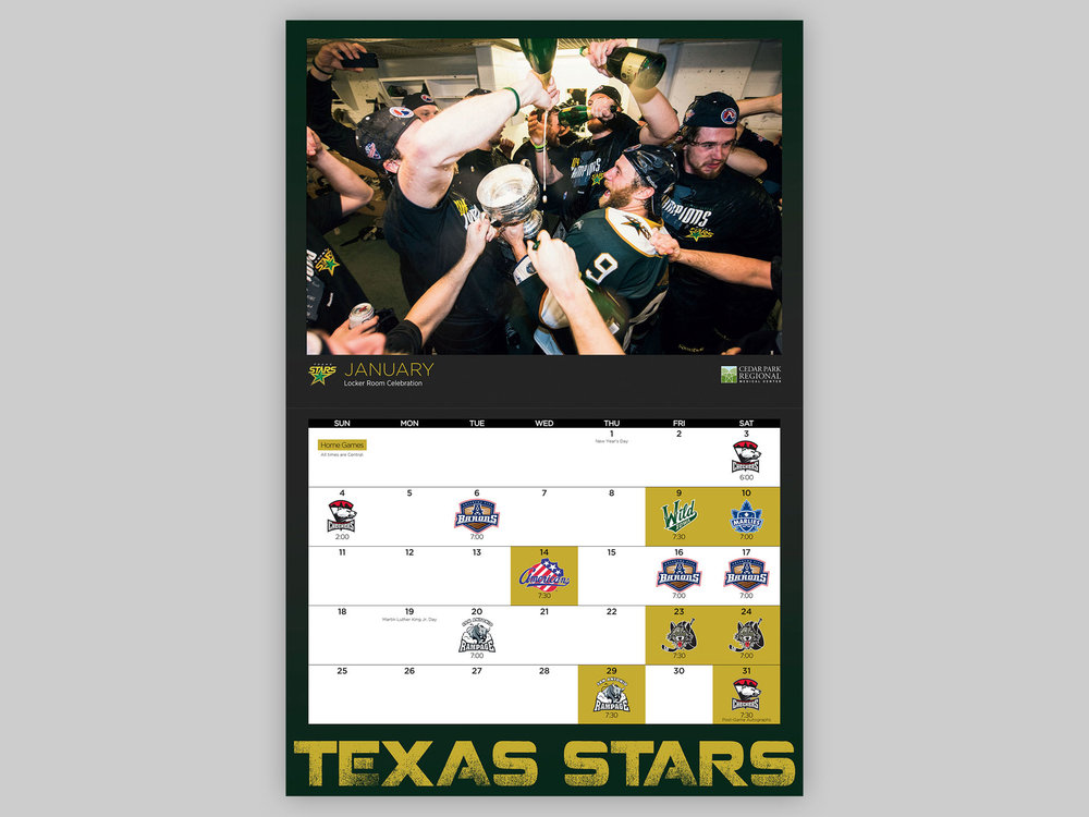 Annual Texas Stars calendar, provided to fans as a promotional item, highlighting the Calder Cup win.
