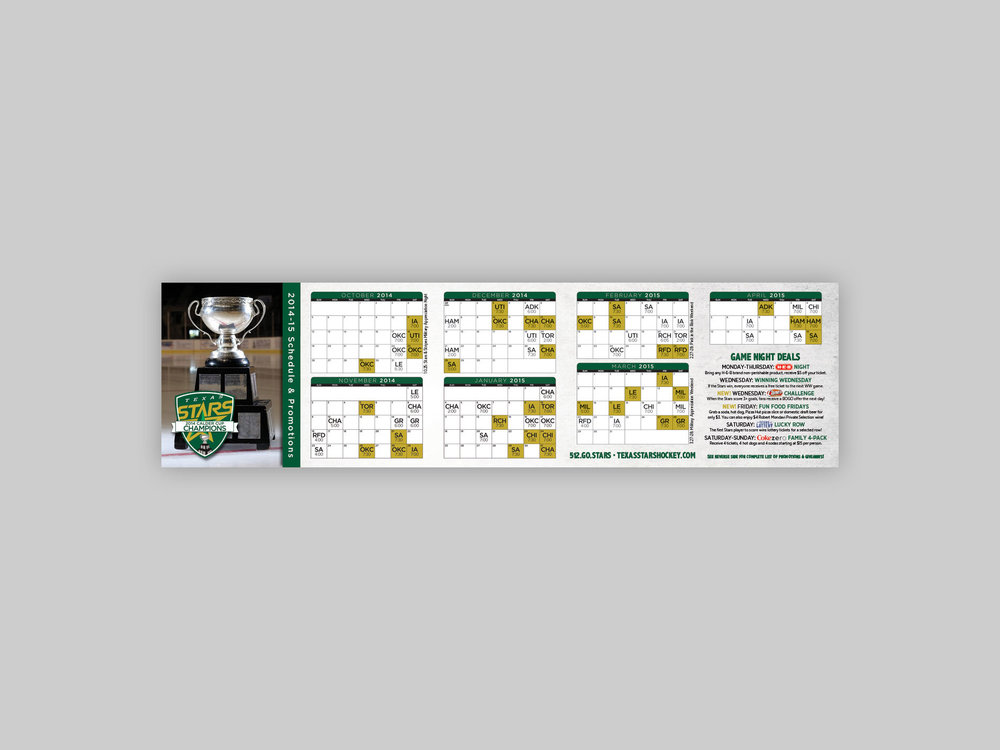 Pocket schedule, detailing ticket information, full season schedule, and promotional calendar.