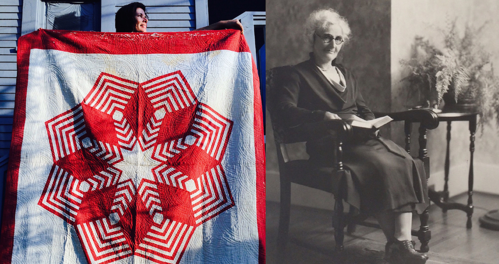 Right: Me holding up the original quilt which inspired 'Barr Star', made by my great grandmother Barr over 100 years ago. Left: Portrait of my great grandmother Barr, maker of the original 'Barr Star Quilt'.