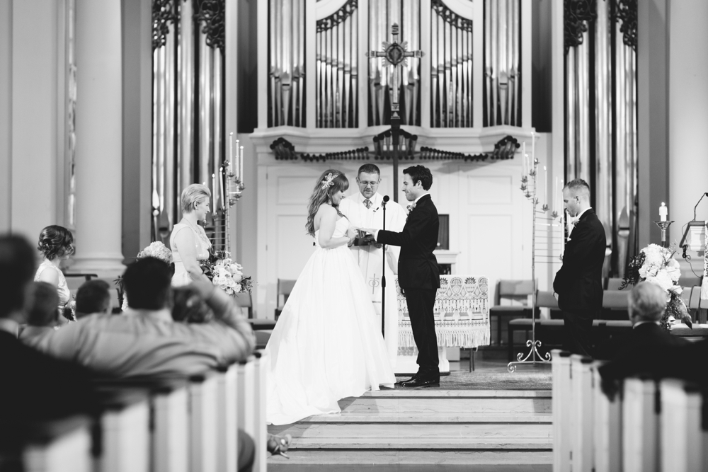 Wedding ceremony at Lutheran Theological Seminary, Gettysburg PA, Dress: Watters, Hair: Downstreet Salon, Makeup: Texture Salon, Flowers: Splints & Daisies, Wedding Photographers With Love & Embers