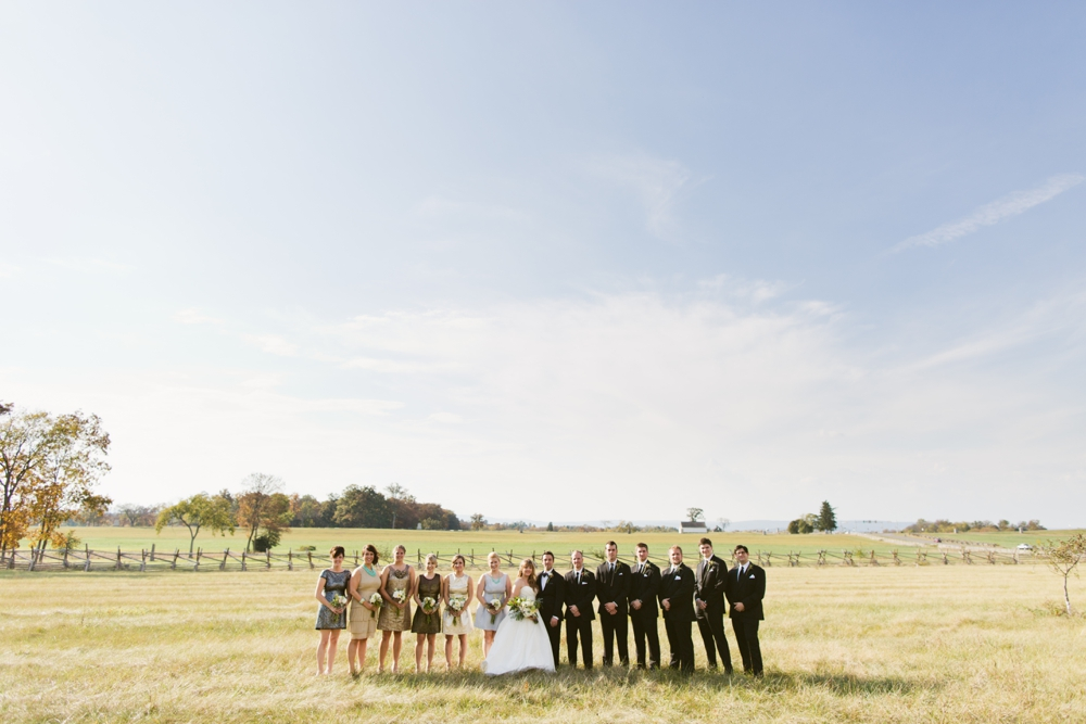 Bridal party portraits on the Gettysburg Battlefield, Gettysburg PA, Dress: Watters, Hair: Downstreet Salon, Makeup: Texture Salon, Flowers: Splints & Daisies, Wedding Photographers With Love & Embers