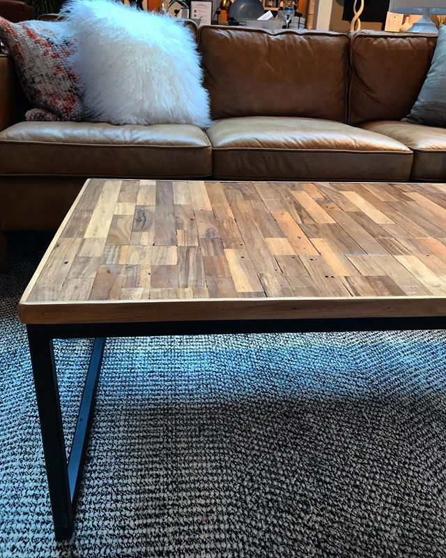 Here's a shot of the reclaimed walnut and steel coffee table set up at @westelmchicago. This walnut was salvaged from an old building here in Chicago. #reclaimedwood #walnut #chicago #furnituredesign
