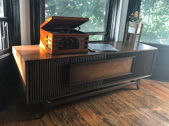 I was given this beautiful old record player from my grandparents. I always remember it sitting in there house with a runner over the top and covered with photos of all of the grandkids and never really knew what it was for years. Finally one day I opened it up to find notes from my grandpa with plan on restoring it and updating it. These plans had to be at least 20 years old. This winter I plan to update the AMP, a new turntable, and create some record storage on the inside. Still need to test the speakers but will replace those too if necessary. Swipe to see the inside now 👉This will definitely be a project I work on from home so probably after the holidays. I shall begin where my grandpa left off.