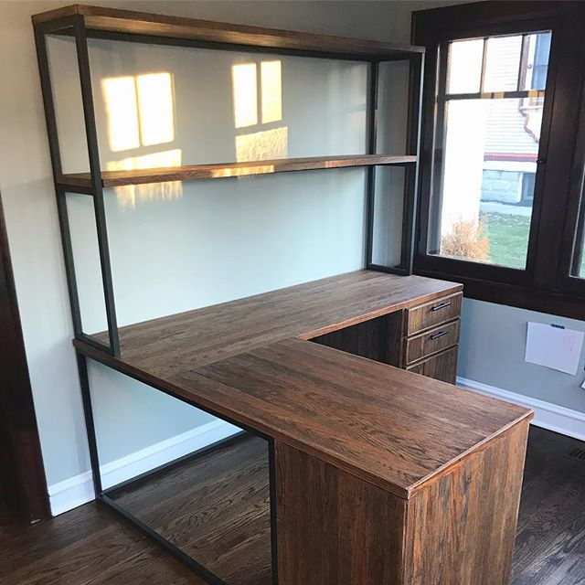 Large reclaimed oak and steel desk with storage cabinet and 6 soft close drawers. This piece goes with another desk and cabinet that you can see in my posts before. Swipe 👉 to see concept drawing!