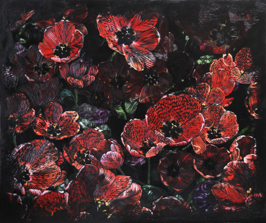 Midnight Poppies   (40x45)