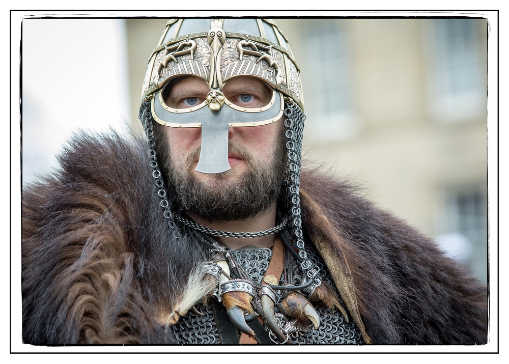 York, UK. 20th February 2016.  A fashionable viking warlord anticipates the approaching battle at York's annual viking festival. Alternative Occasions/Alamy Live News