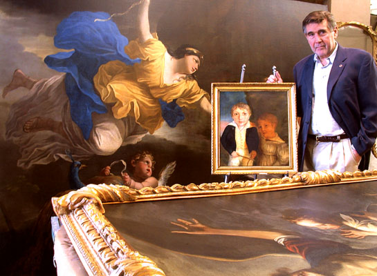 Above: Master Conservator, Walter Nowatka, with two large allegorical paintings restored for the Lambert Castle Museum and one small stylized portrait partially cleaned.