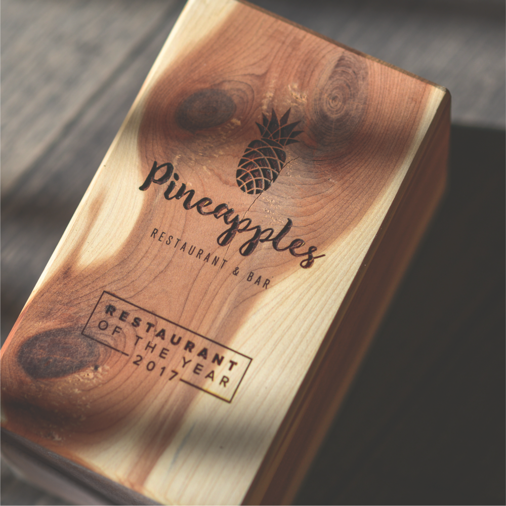 Laser Engraving on Wood - Laser engraving is the process of burning (or charring) the surface of the material. In the case of wood, we get a dark, charred burning of the surface, providing a rich contrast between the wood and text.