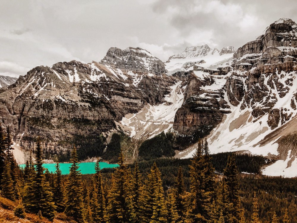 For our next 10 mile hike we chose the next day to embark on that. The Plane of the Six Glaciers hike that I previously mentioned started at Lake Louise and took us far higher than this photo, but wowie that view!