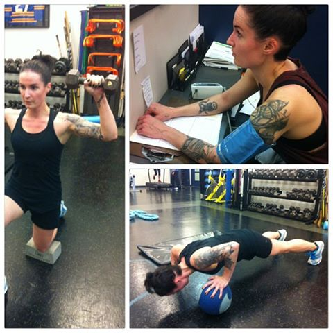 Working on lowering Jill's resting HR and kicking but with one arm med-ball push ups!