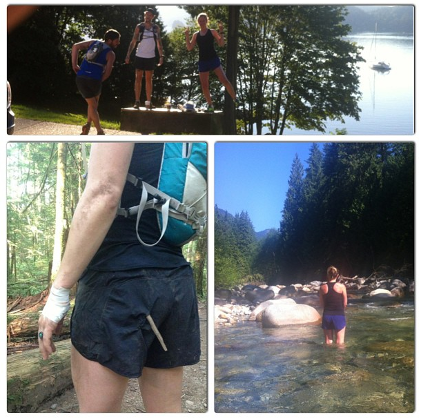 Yesterday we attempted to run from Deep Cove to Grouse Mountain and back. (48k) At about 8k I took a great tumble landing hand first. Along with momentarily thinking I broke my wrist, I had a near mishap with a stick tearing through my shorts and just grazing my…well…lady parts. YIKES! Makes for a funny photo regardless. Between my hand swollen like a banana and Kat running on 2 hrs of sleep and nearly hyperventilating about 12 k, we decided it would be best to send the boys back to Deep Cove while we rested up on the river waiting for them.  At least this was our plan, however Kat and I were to stubborn to stop there and double our distance and finished a 25k. Not exactly what we hoped for, but gotta take what life hands ya with a grain of salt, right?! *NOTE: after a few hours of icing I woke up this morning and my hand was mysteriously, almost back to normal leaving behind a great big bruise.