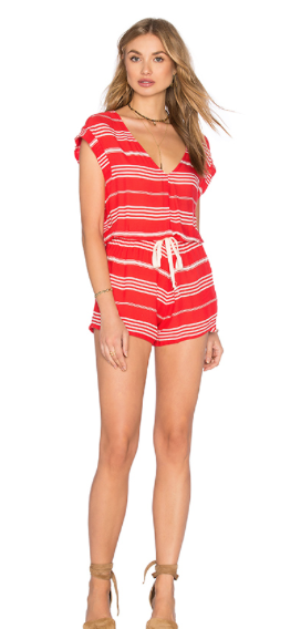 Hannah:  This romper is the perfect festive, comfy cover up for your post boat ride corn hole tournament