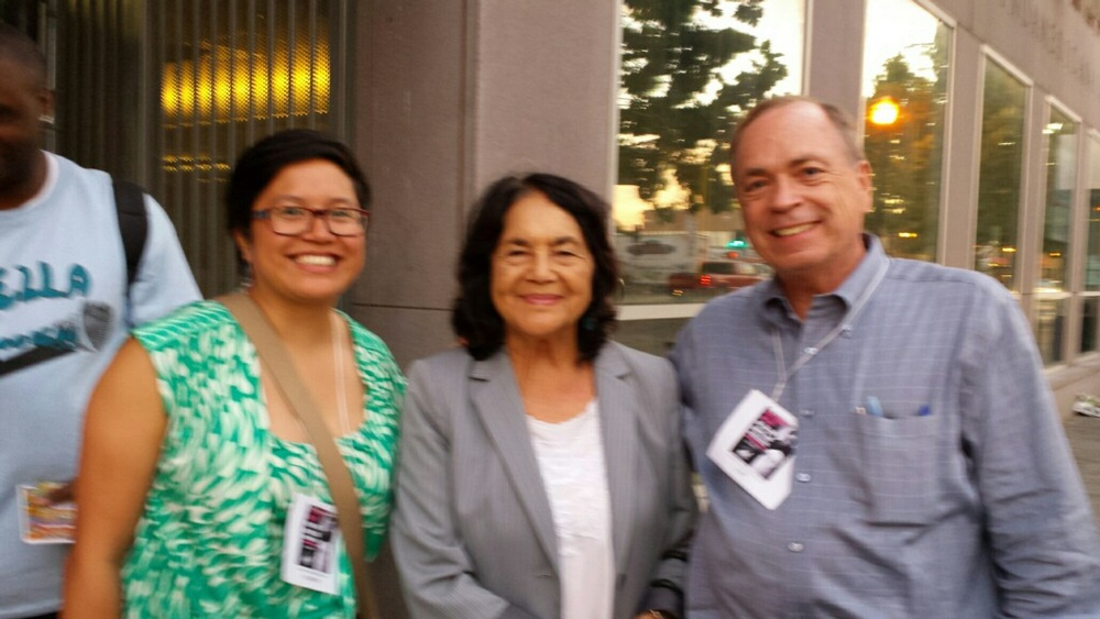 Human Agenda Board Member Fhatima Paulino and Executive Director Richard Hobbs with Dolores Huerta.