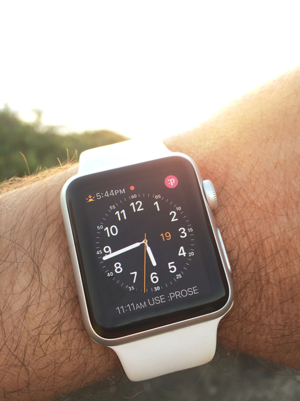 :prose on Apple Watch. Quick launcher icon available on clock face.