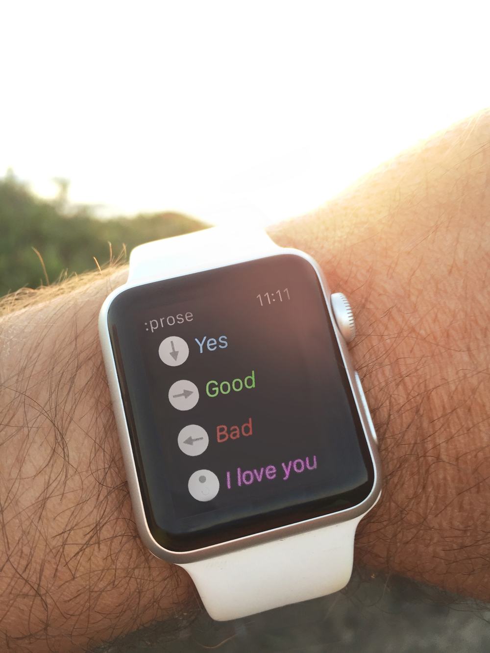 :prose on Apple Watch. Remotely speak aloud by tapping your favorite phrases.