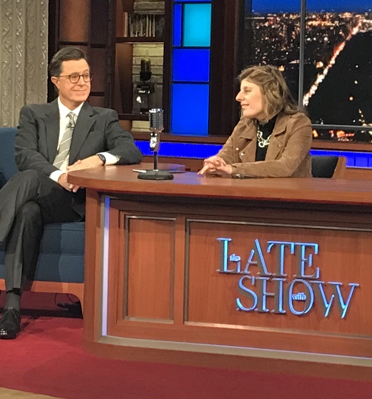 Carly Fleischmann  and Stephen Colbert using   Speak :prose   on  iPad and Apple Watch  on The Late Show. Photo credit: Howie Dalal