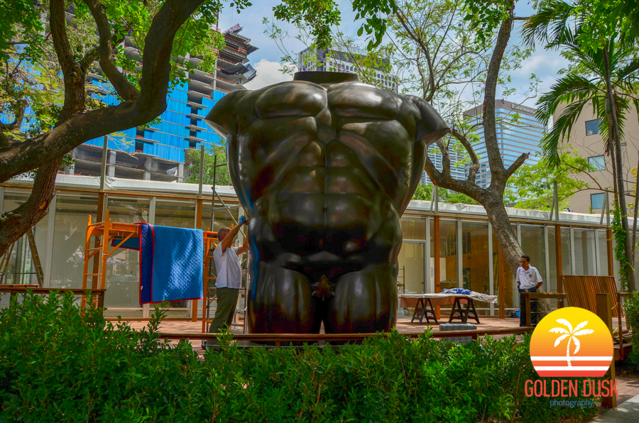 SLS Lux Hotel and Residences Brickell Sales Center with Botero Statue