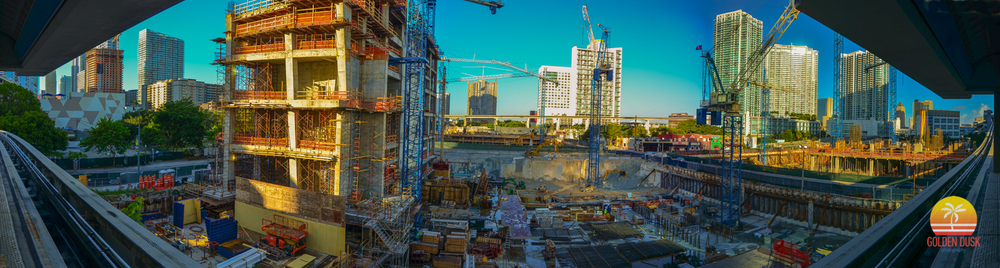 December 2013  - Hotel East is growing taller and NINE at Mary Brickell Village is not visible anymore. Swire is starting the process of building out the underground parking.  Condo North has not started to rise yet.