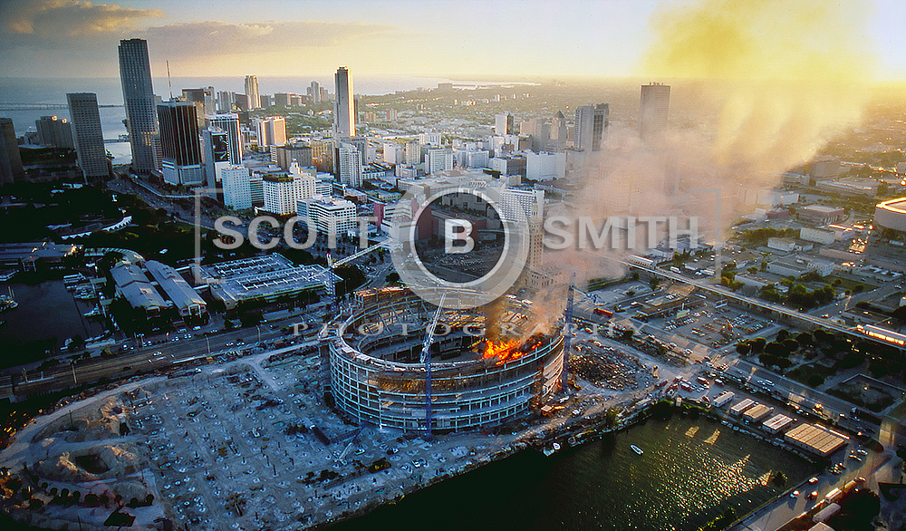 American Airlines Arena Catching Fire During Construction - Photo Credit: Scott B. Smith