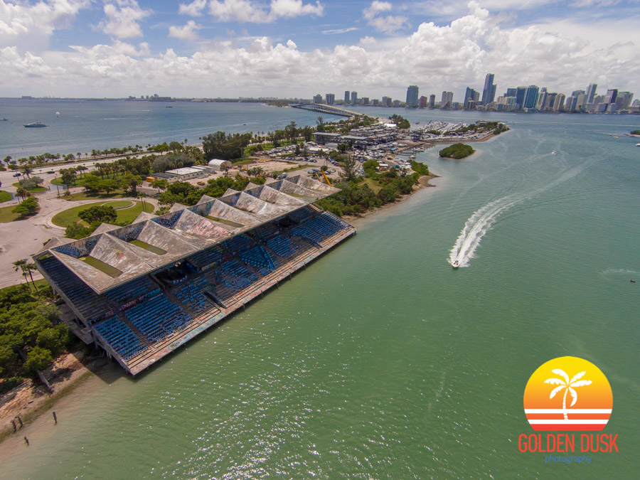 Miami Marine Stadium With Downtown Miami In The Distance