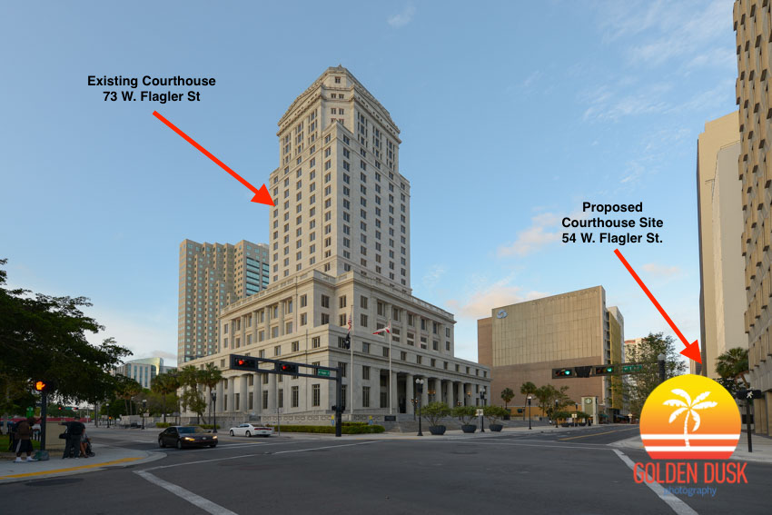 The existing courthouse on the left and the proposed new courthouse site on the right