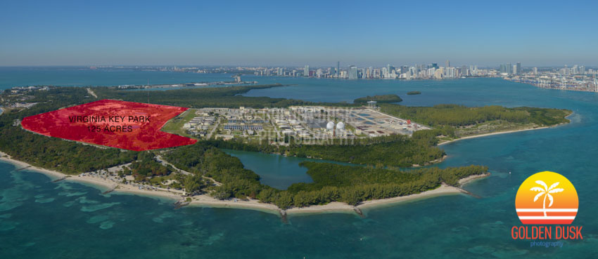 Aerial of Virginia Key with Downtown Miami in Distance