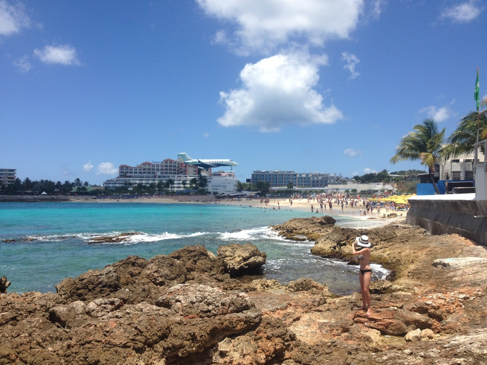 Me, watching the planes land at Maho Beach, St. Maarten.