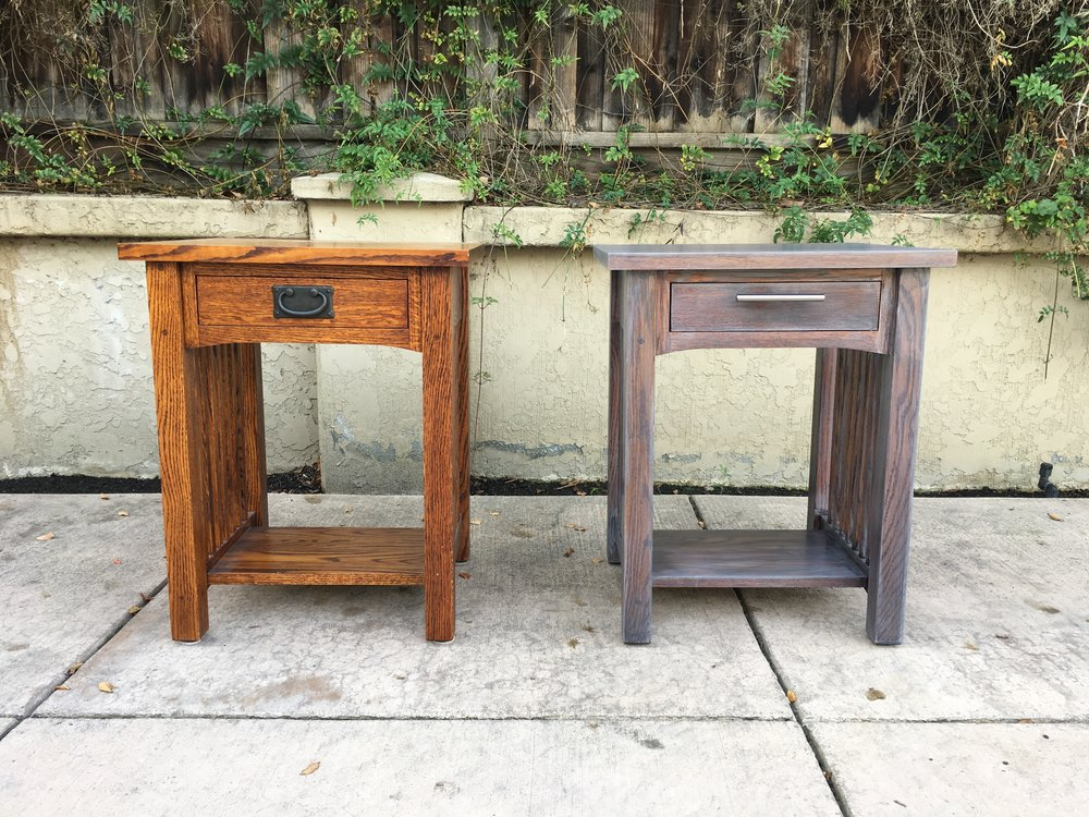 Our two side tables, the one on the left before the make-over, and the one on the right, after.
