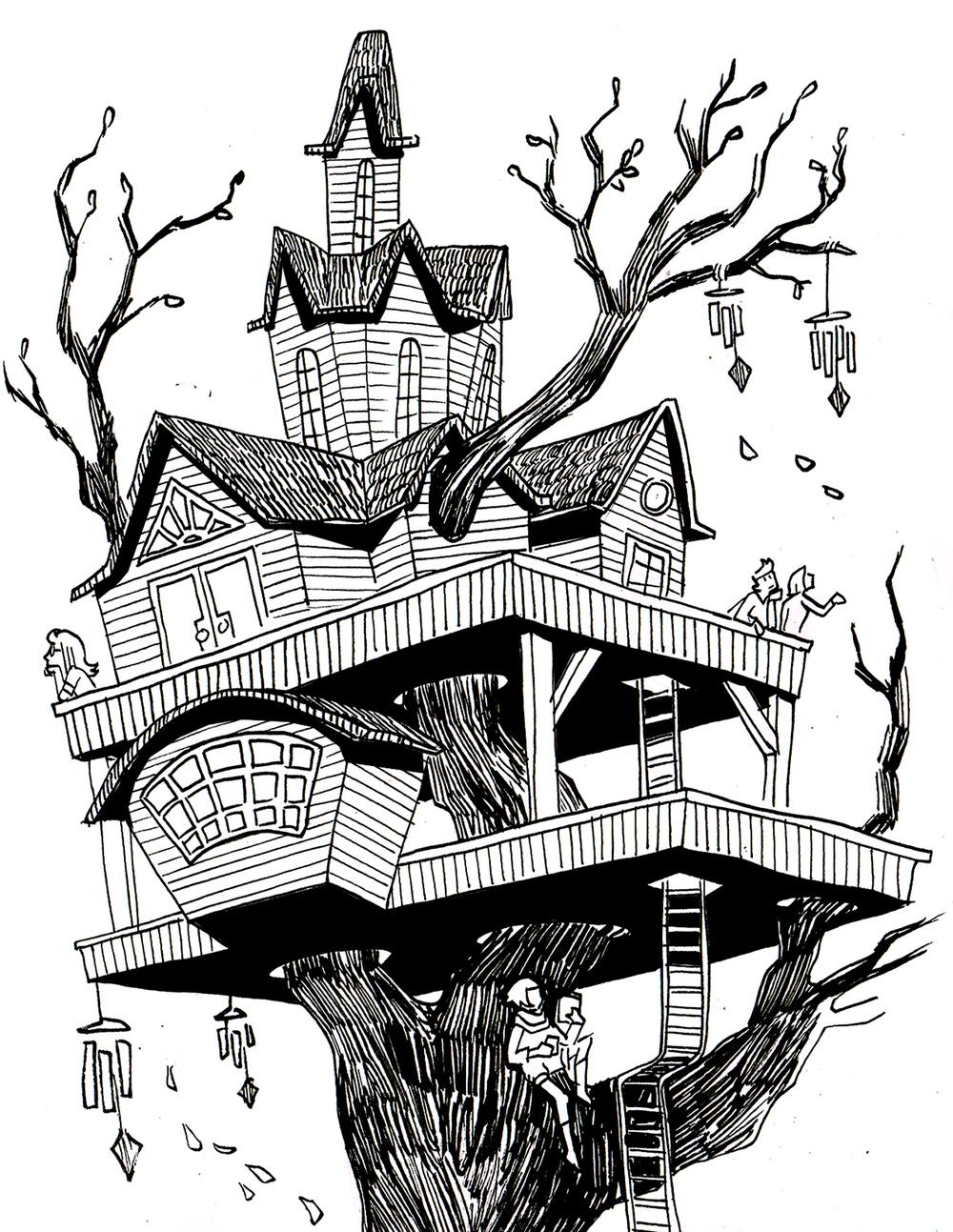 Treehouse Postcard Design