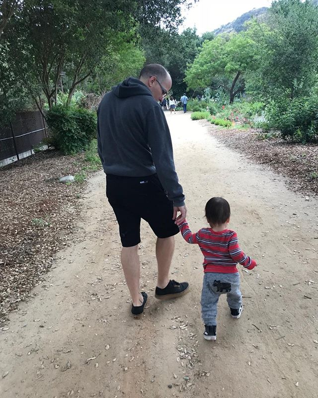 He'll lead you along the path, little Elan.  Sometimes the unbeaten path cause that's how your daddy rolls.  Get ready for fun adventures together! @ericcarbonnier 😘  #fathersonmoments #naturewalk #fathersday #descansogardens #noplanplan #chillax