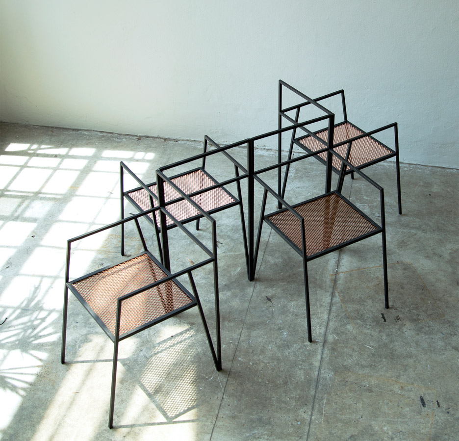 modern steel furniture. argentinian architecture studio ries has designed a collection of minimal furniture based around simple steel frames i love the geometric shapes created modern w